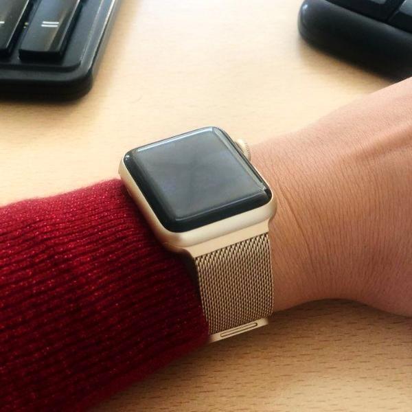 Apple Watch Series 5 4 3 2 Band Milanese Adjustable Mesh Loop Cuff Stainless Steel Bracelet Fits 38mm 40mm 42mm 44mm Apple Watch Apple Watch Bands Gold Apple Watch
