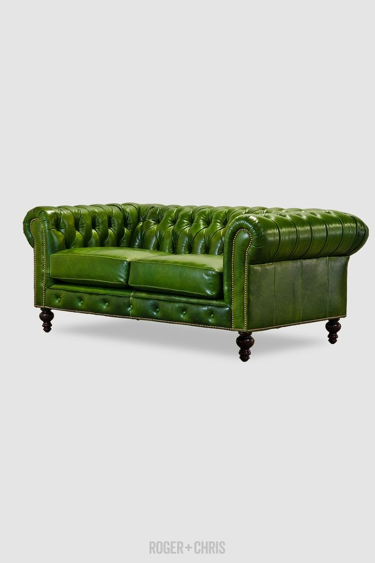 Seater queen anne high back wing sofa uk manufactured antique green - Green Leather Chesterfield Loveseat Chesterfield Sofas Armchairs Sectionals Sleepers Leather Fabric