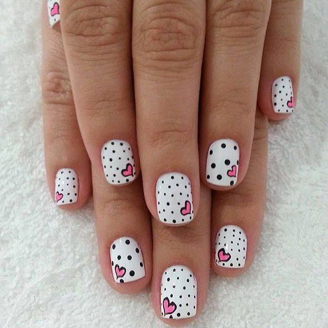 Beautiful kid's nails, Cheerful nails, Children nails ideas, Easy nails for girls, Funny nails, Heart nails design, Manicure by summer dress, Polka dot nails