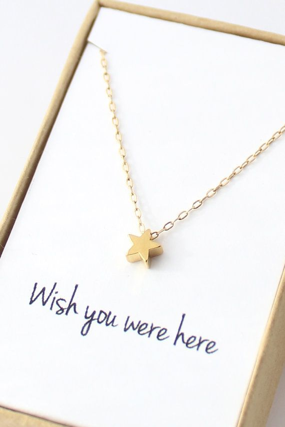 """Tiny Gold Star """"Wish you were here"""" Necklace"""