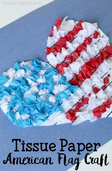 Scrunch Some Red White And Blue Tissue Paper To Make A Lovely 4th Of July American Flag Craft