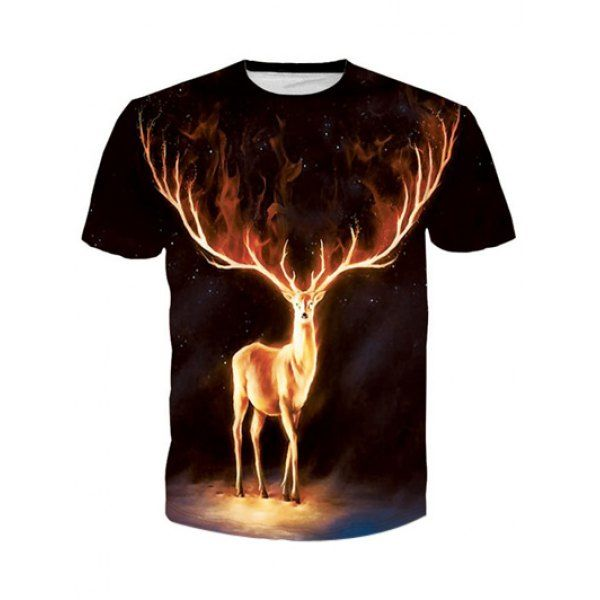 $11.27 Round Neck 3D Flame Elk Print Short Sleeve T-Shirt For Men