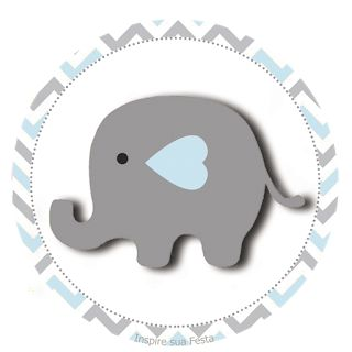 Elefante Bebé en Celeste y Gris: Wrappers y Toppers para Cupcakes para Imprimir Gratis.