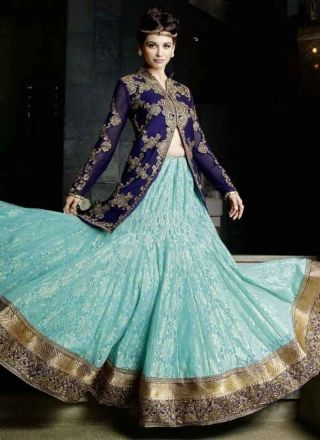 Blasting Blue Turquoise Embroidery Work Net Georgette Lehenga Style Suit   http://www.angelnx.com/Salwar-Kameez#/sort=p.date_added/order=DESC/limit=32/page=5