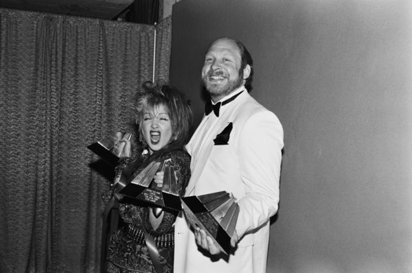 Cyndi Lauper and Ed Griles Holding Video Awards