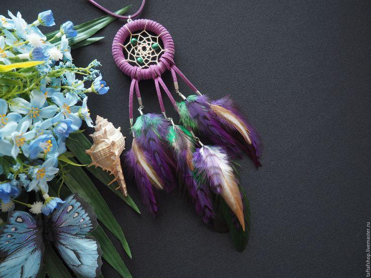 Цветочная поляна - сиренево-зелёный кулон ловец снов с перьями бохо - перья, перо