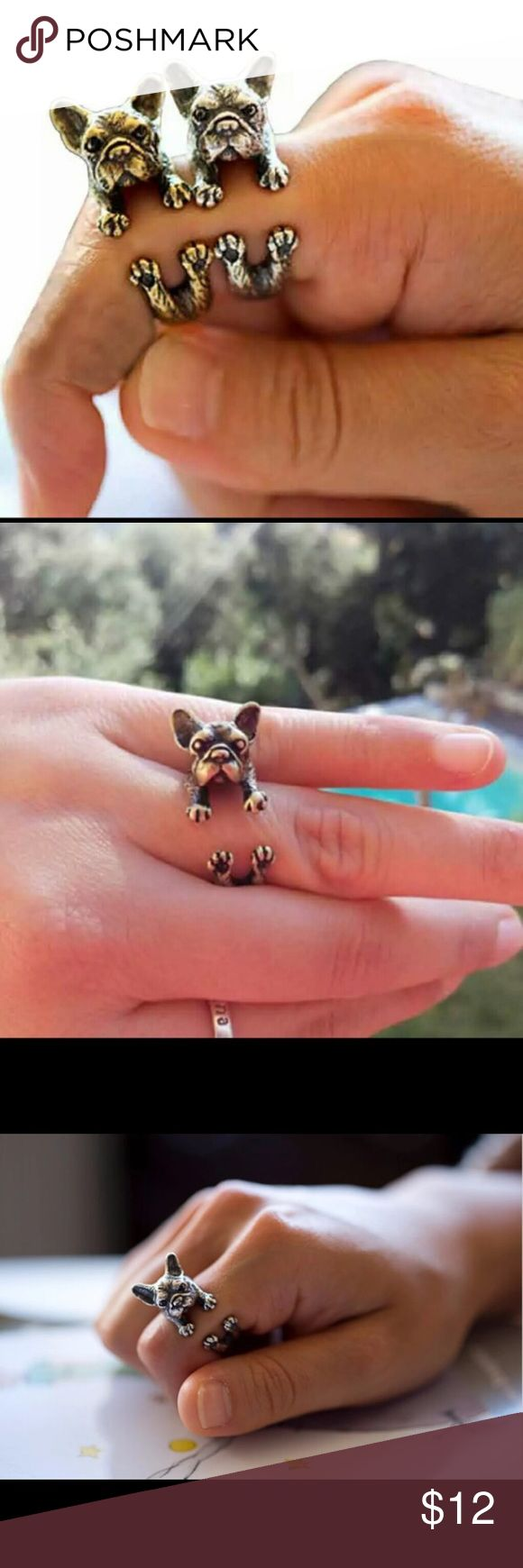 New French Bulldog Adorable Silver Ring New French Bulldog Adorable Silver Ring boho chic vintge inspired animal dog statement piece still dainty. Silver only left . Love my breed. Boutique Jewelry Rings