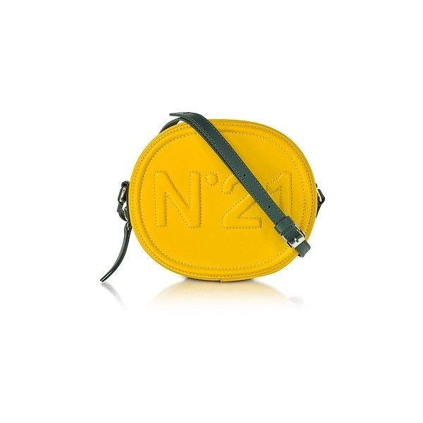 N?21  Handbags Yellow Leather Oval Crossbody Bag w/Embossed Logo (1.650 BRL) ❤ liked on Polyvore featuring bags, handbags, shoulder bags, yellow, leather hand bags, purses crossbody, handbag purse, shoulder hand bags and leather shoulder handbags