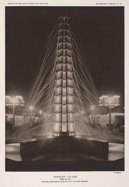 Paris Exposition 1925 Lalique fountain at the 1925 Art Deco
