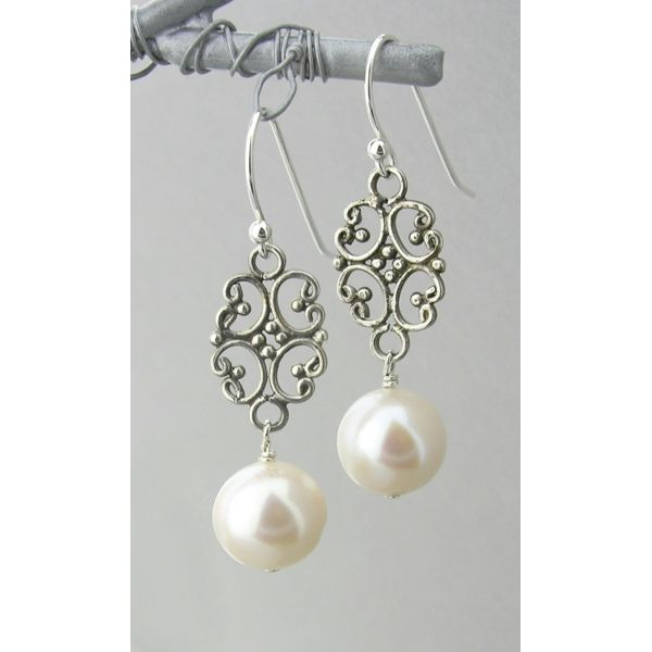 White Freshwater Pearl Silver Boucles d/'oreilles