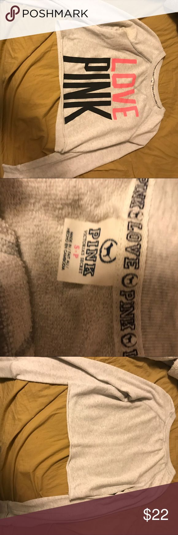 PINK crew neck White creme crew neck with love pink logo on front  Great condition PINK Victoria's Secret Tops