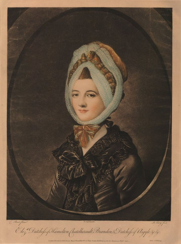 """Elizth Dutchess of Hamelton, Chatelerault, Brandon, & Dutchess of Argyle"". Portrait of Elizabeth Duchess of Hamilton (née Gunning), half-length directed to left, in an oval frame, wearing a bonnet with close ruffles around the face tied under the chin and black shawl edged with lace tied with a bow; after Read.  1771 mezzotint printed in colour."