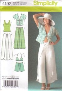 Simplicity Sewing Pattern 4192, Misses Wrap Trousers in 2 Lengths or Shorts, Kimono Top, Bra Top & Knit Top