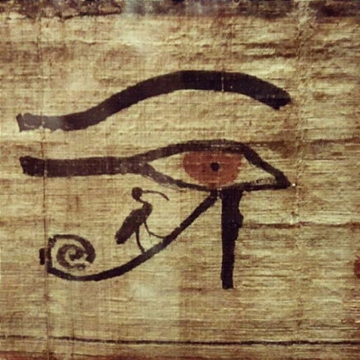 Ancient Egyptian Book of Coming forth out of Darkness into Light (Book of the Dead) papyrus, displaying the Eye of Ra, with scribe deity Thoth's emblem, the Ibis bird, standing on the spiraling part of the symbol, as if riding on the Barque of Ra. 21st dynasty, reign of king Smendes, 1070BC, Thebes, Egypt.