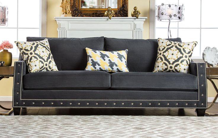 Furniture of America | Coley Contemporary Premium Sofa, Gray - #LovelyHomeStore http://lovelyhomestore.com/furniture-of-america-coley-contemporary-premium-sofa-gray/  cheap leather sofas & loveseats leather sofas sale amazon leather sofas save money on top brands leather sofas christmas sale  #sale #amazon #SaveMoney on top brands christmas sale
