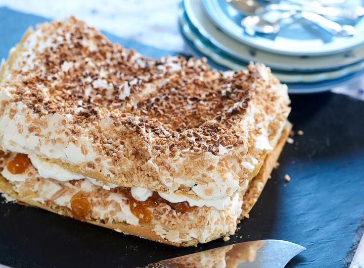 Ellen Kolby Carlsen fra Herning har sendt os sin bedste opskrift på lagkage. Kagen er med marengs, flødeskum og abrikosmarmelade uhm! Og den er tilmed super nem at lave i en bradepande.