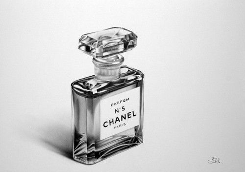 Still Life Perfume Bottle Vintage Chanel No 5 Fine Art Pencil Drawing Archival Print Hand Signed by Artist. $22.99, via Etsy.