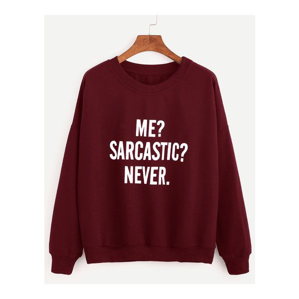 Burgundy Drop Shoulder Letters Print Sweatshirt ($16) ❤ liked on Polyvore featuring tops, hoodies, sweatshirts, burgundy top, drop shoulder sweatshirt, red sweatshirt, drop shoulder tops and red top
