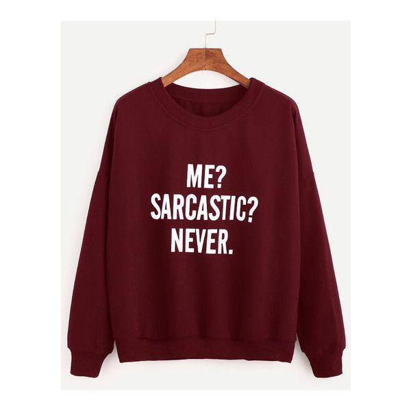Burgundy Drop Shoulder Letters Print Sweatshirt ($16) ❤ liked on Polyvore featuring tops, hoodies, sweatshirts, burgundy top, drop shoulder sweatshirt, red sweatshirt, drop shoulder tops and red top