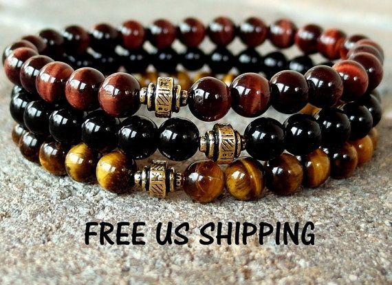 Mens bracelet, set of 3,with Men's Red Tigers eye, Men's Brown Tigers eye, Men's Black Onyx, Yoga set, Reiki, Yoga bracelet set., wrist mala
