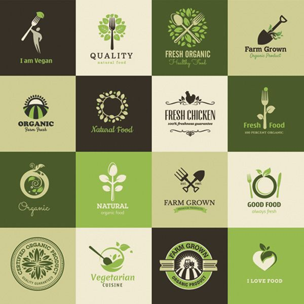 Organic Vegan Natural Food Logos Vector Set - http://www.welovesolo.com/organic-vegan-natural-food-logos-vector-set/