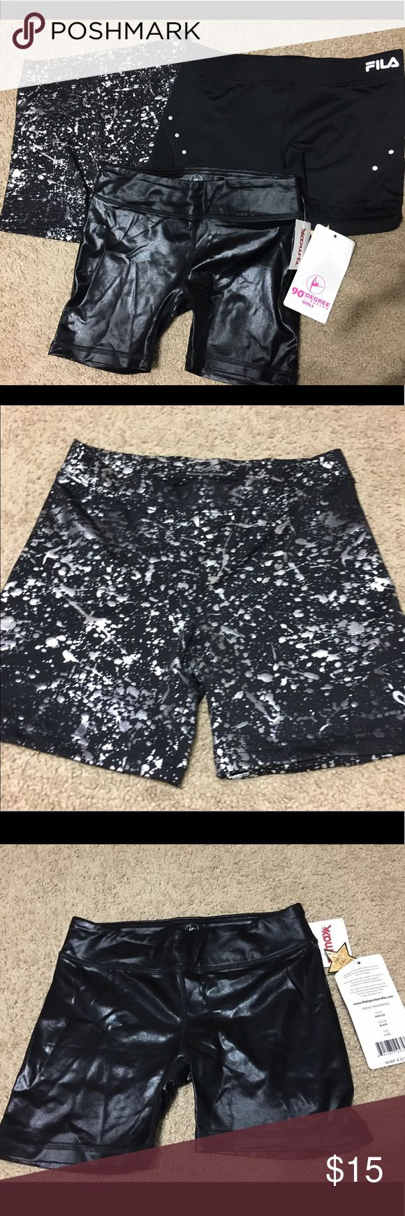 Set of three black spandex shorts Set of black spandex dance shorts. Black with silver paint is justice brand. Black with tags is 90 degrees and last pair is Fila Bottoms Shorts