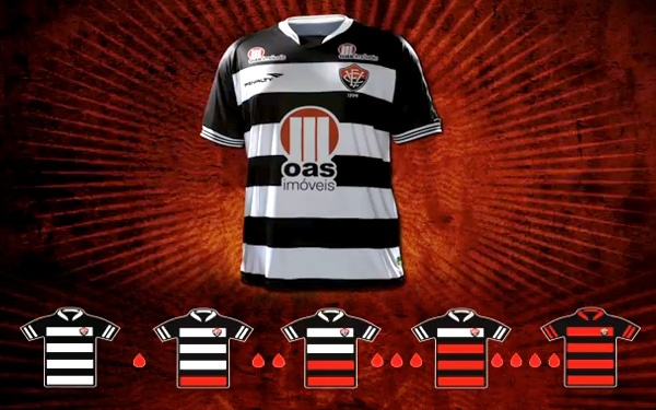 Normally in black and red, but not next season. Vitoria (BRA) encourage blood donations by dropping red from shirt http://www.metro.co.uk/sport/oddballs/904019-brazilian-side-vitoria-encourage-blood-donations-by-dropping-red-from-their-shirt