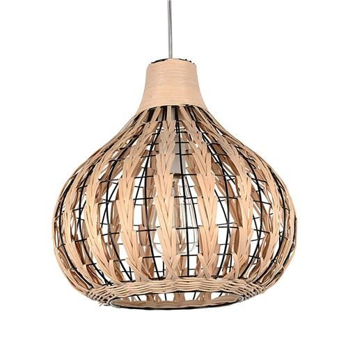 LED Ceiling Light Home Decorative Pendant Lamp Bamboo Woven Rattan Chandeliers -Brown