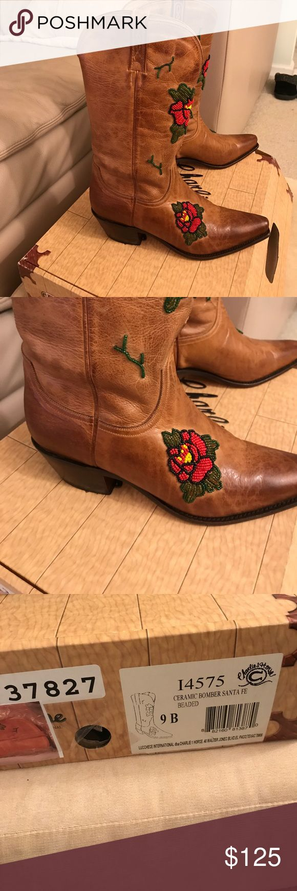 Lucchese Embroidered Cowboy Boots Size 9 Brand New Charlie Horse Embroidered Cowboy Boots with Roses. Size 9-B Made by Lucchese in El Paso Texas Lucchese Shoes Heeled Boots
