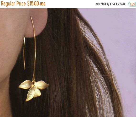 20 off. Flower Earrings.  Wild Orchid. Solo Flower Earrings in Gold or Silver. Single Orchid on A Long Earwire. by GojoDesign on Etsy https://www.etsy.com/listing/85183965/20-off-flower-earrings-wild-orchid-solo