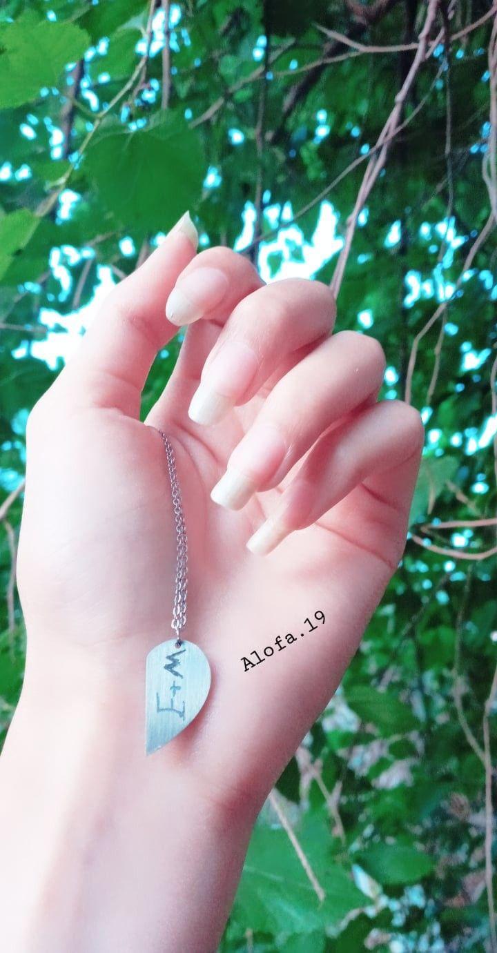رمزيات اظافر يد سماء قلادة M بنات كيوت انستا ستوريات رمزيات انستا Charm Bracelet Dog Tag Necklace Heart Charm Bracelet