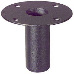 """Speaker Mounting Top Hat Steel For 1-3/8 by Parts Express. $6.89. Quickly transforms existing speaker cabinets for use with tripod speaker stands. Simply cut a hole, mount inwardly to bottom of speaker cabinet and your cabinet is now ready for both floor and tripod stand use. For use with 1-3/8"""" diameter stands. Steel construction."""