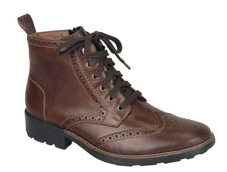 Rieker 36041 Mens Brogue Detail Lace Up Ankle Boot - 27 Marrone - Robin Elt  Shoes