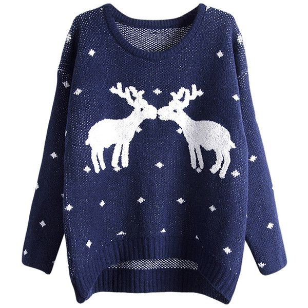 Womens Crewneck Reindeers Patterned Ugly Christmas Sweater Navy Blue ($13) ❤ liked on Polyvore featuring tops, sweaters, shirts, navy blue, pattern sweater, blue sweater, christmas tops, navy sweater and print sweater