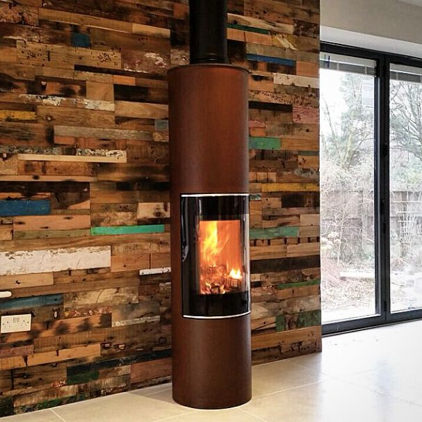 """RAIS PILAR #stove in UNIQUE rust finish. Fully automatic stove with #RAIS """"CleverAir"""" system."""