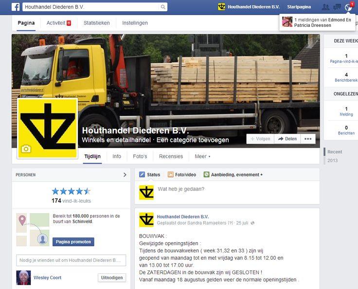 Facebook pagina Houthandel Diederen.