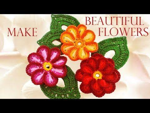Como tejer fácil y rápido las mas hermosas flores - Make knitting very nice quick and easy - YouTube