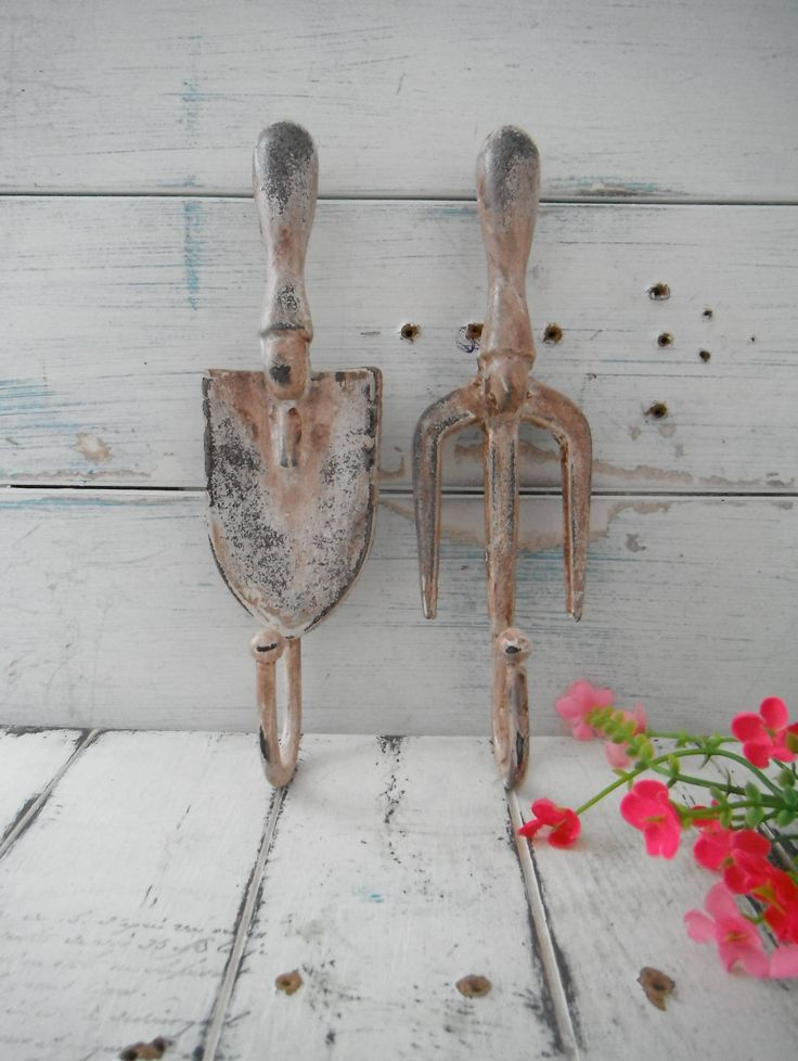 rusty wall hooks garden tool hooks french country cottage chic shabby hook coat hook set she shed decor rustic garden decor porch decor SET by Thehouseofshabby on Etsy