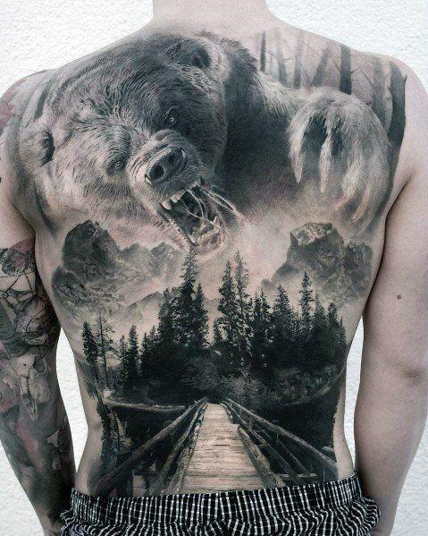 Mens großer Bär Forest Full Back Tattoo – Tattoos Online – #Bär #Forest #Full #großer #Mens