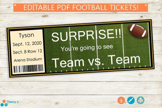 printable and editable football tickets      adobe pdf  surprise game tickets stub birthday