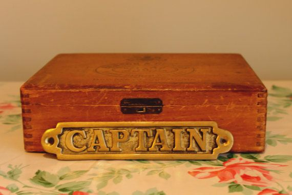 Vintage Brass Sign Captain Nameplate by CourtsVintageFinery