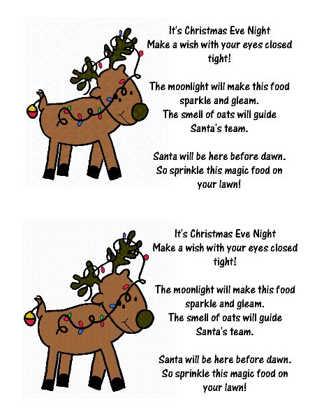 reindeer food crafts Reindeer Food Label and Poem Projects to