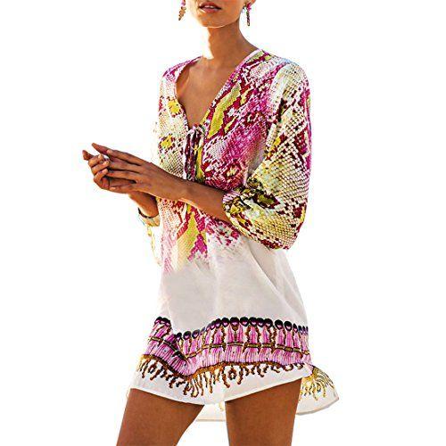 L-Peach Damen Tunika Strandkleid Bikini Coverups Pareo One Size