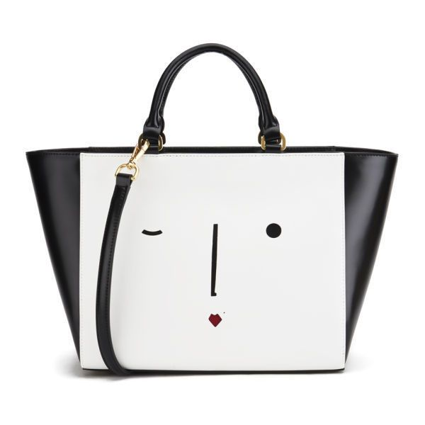Lulu Guinness Women's Cesca New Face Tote Bag - Black & White found on Polyvore