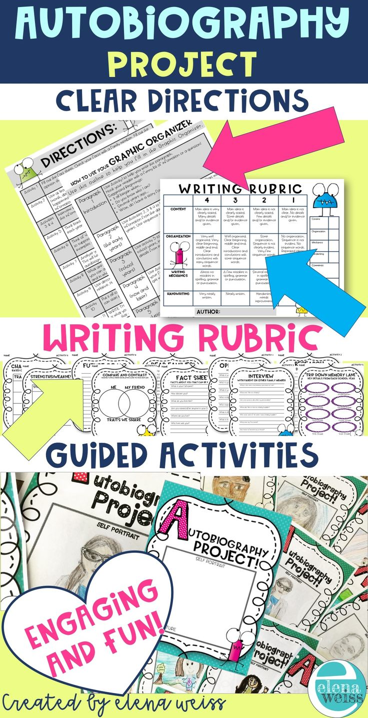 An engaging autobiography writing project! Grades 3-6 11 Activities and updated to include a writing rubric!
