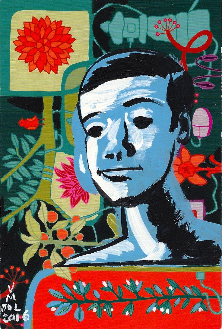 Man Boy, post card painting #11, by #artist Vince Mancuso