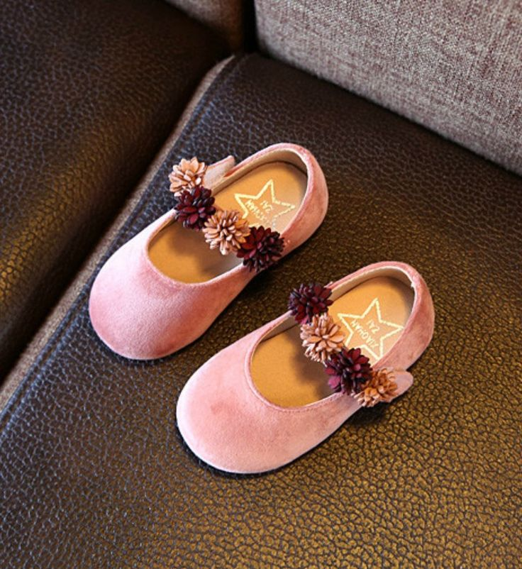 Toddler & Little Girl Shoes-Super Soft & Comfortable Flat Shoes! Pink Flower Girl Shoes Material: Suede, bonded leather, cotton & rubber Perfect for weddings, birthday, communion, baptism, christmas or baby shower gift