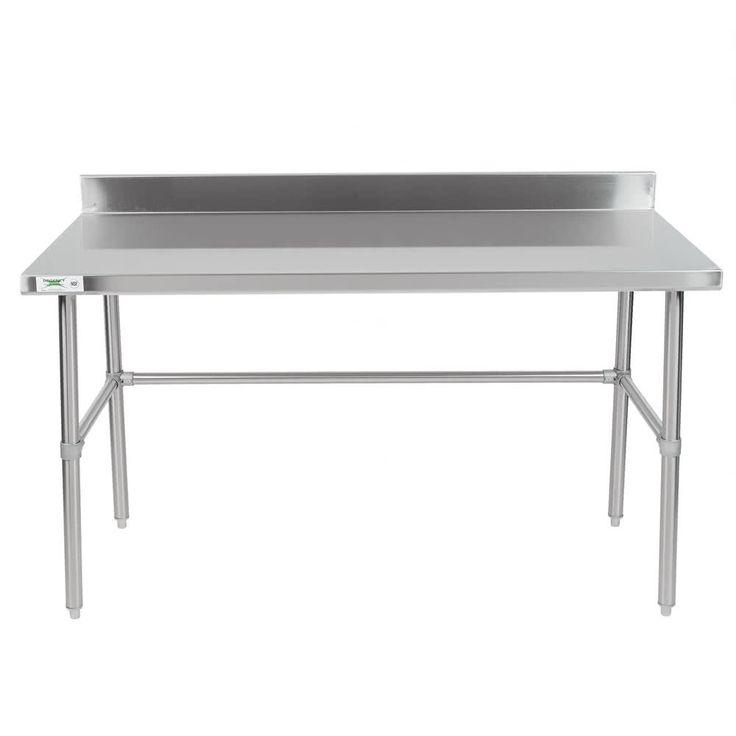 "Regency 30"" x 60"" 16-Gauge 304 Stainless Steel Commercial Open Base Work Table with 4"" Backsplash"