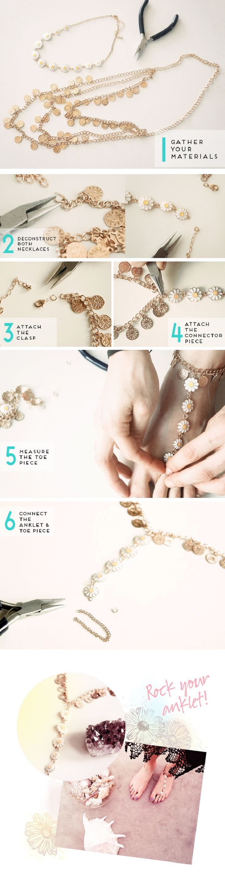 DIY Wild & Free Daisy Chain Anklet Supplies - 16 Hippy DIY Tutorials for All Boho-Chic Princesses | GleamItUp