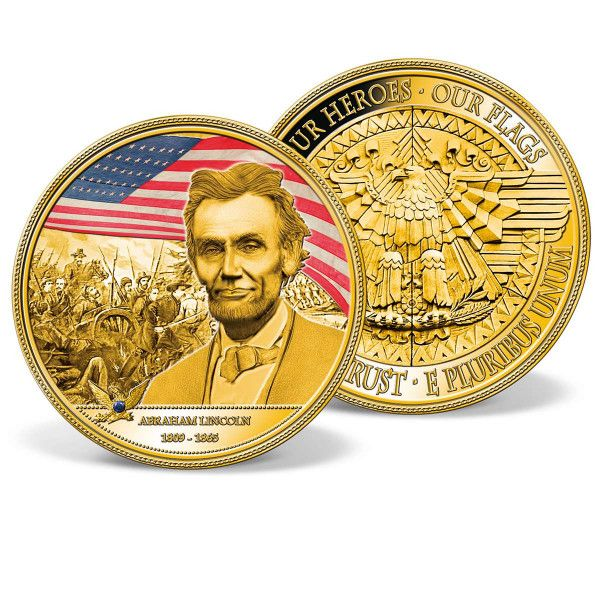 WR Abraham Lincoln Colored Gold Coin U.S Presidential Souvenir Metal Medal Gift